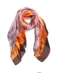 La Fiorentina - Orange Tie Dye Silk Scarf - Lyst