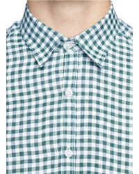 Canali Green Checked Shirt for men