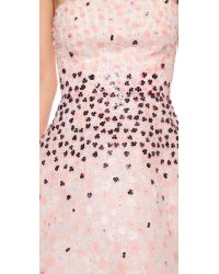Monique Lhuillier Multicolor Floral Paillette Strapless Dress - Petal Multi