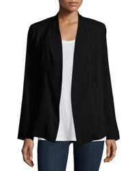 Eileen Fisher Black Angled-Front Stretch-Linen Jacket