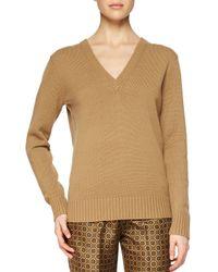 Michael Kors - Brown Cashmere V-neck Sweater - Lyst
