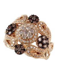 Effy | Diamond And Brown Diamond 14k Yellow Gold Ring, 1.07 Tcw | Lyst
