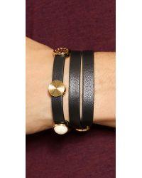 Tory Burch Livia Leather Triple Wrap Bracelet Blackshiny Brass