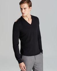 Burberry | Black Brit Beardsley Merino V-neck Sweater for Men | Lyst