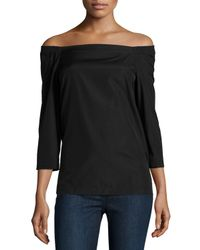 Theory - Black Vinata Sartorial Off-the-shoulder Top - Lyst