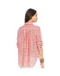 Denim & Supply Ralph Lauren - Red Plaid Cotton Gauze Shirt - Lyst