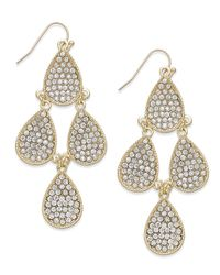 INC International Concepts - Metallic Gold-tone Crystal Pavé Teardrop Chandelier Earrings - Lyst