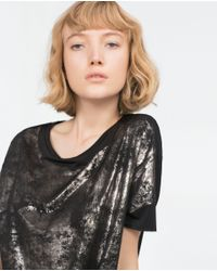 Zara | Black T-shirt With Slits T-shirt With Slits | Lyst