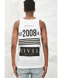 Forever 21 | Black Civil Stripe Graphic Tank | Lyst