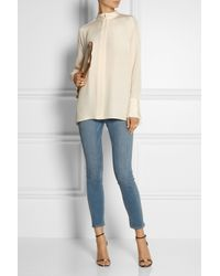 By Malene Birger - White Ronida Paneled Silk-Crepe And Chiffon Top - Lyst
