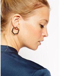 ASOS | Metallic Smooth Hexagon Earrings | Lyst