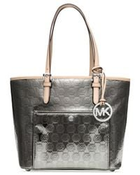 Michael Kors | Metallic Michael Jet Set Item Medium Snap Pocket Tote | Lyst