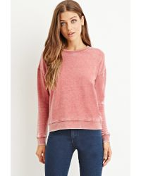 Forever 21 - Red Faded Fleece Sweatshirt - Lyst