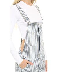 True Religion Molly Rolled Short Overalls Blue Stripe