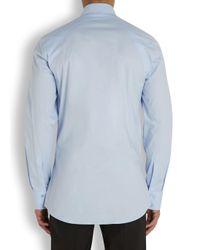 Alexander McQueen Light Blue Harness Stretch Cotton Shirt for men