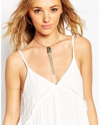 ASOS | Metallic Stone And Chain Fringe Choker Necklace | Lyst