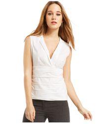 Laundry by Shelli Segal White Empire Deep-v-neck Shirt
