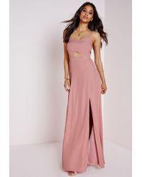 Missguided Crepe Bralet Maxi Dress Dusky Pink