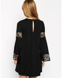 ASOS - Black Boho Swing Dress With Long Sleeve And Lace Inserts - Lyst