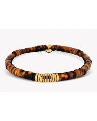 Tateossian | Brown Bamboo Bracelet With Tiger Eye And Yellow Gold Plated Silver Discs for Men | Lyst