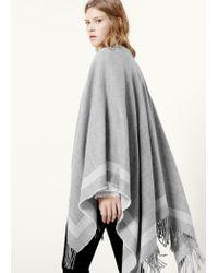 Violeta by Mango | Gray Fringed Cape | Lyst