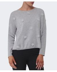 Cocoa Cashmere | Gray Pom Pom Rib Sleeve Sweater | Lyst