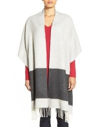 Eileen Fisher | Gray Blanket Stripe Wool Blend Wrap | Lyst