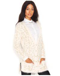 Maison Jules Multicolor Long-Sleeve Leopard Eyelash-Knit Cardigan