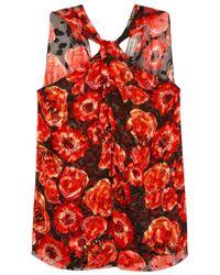 Lanvin - Red Floral-print Fil Coupé Chiffon Top - Lyst