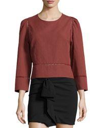 Isabel Marant - Brown Ladder-stitch Linen/cotton Top - Lyst