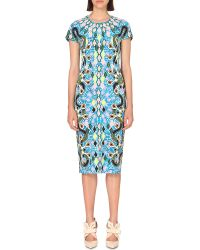 Peter Pilotto | Blue Printed Stretch-crepe Dress | Lyst