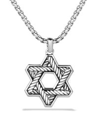 David Yurman - Metallic Pave Reversible Star Of David With Black Diamonds On Chain for Men - Lyst