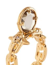 Alexander McQueen - Metallic Spinal Cord Crystal Ring - Lyst