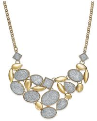 Style & Co. - Metallic Glitter Cabochon Frontal Necklace - Lyst