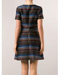 SUNO - Black Striped Mini Dress - Lyst