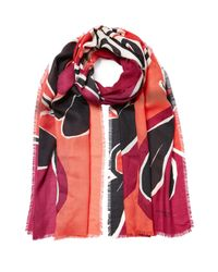 Burberry Prorsum | Pink Landscapes Print Cashmere Scarf - Red | Lyst