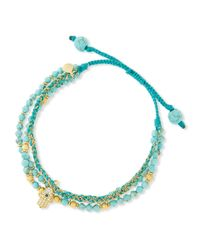 Tai | Blue 3-Strand Turquoise Beaded Bracelet With Hamsa Charm | Lyst