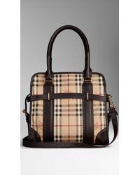 Burberry Natural Medium Haymarket Check Portrait Tote Bag