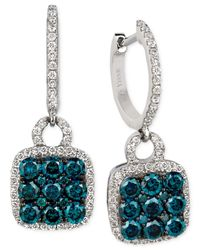 Le Vian | Exotics® Blue And White Diamond Drop Earrings (1-1/4 Ct. T.w.) In 14k White Gold | Lyst
