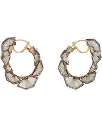 Nak Armstrong Metallic White Sapphire Rainbow Moonstone Aquamarine Hoop Earrings