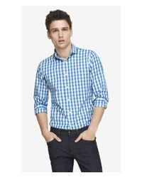 Express | Blue Extra Slim Small Check Dress Shirt for Men | Lyst