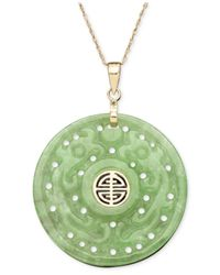 Macy's | Green 14k Gold Necklace, Jade Carved Circle Pendant | Lyst