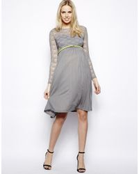 ASOS Gray Exclusive Midi Dress With Lace Top And Pleated Skirt With Belt