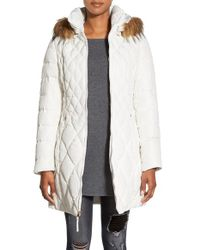 Jessica Simpson - White Faux Fur Trim Hooded Quilted Down & Feather Fill Coat - Lyst