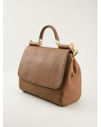 Dolce & Gabbana - Brown Tote with Stitch Detail - Lyst