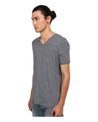 Vince - Blue Stripe Short Sleeve V-neck for Men - Lyst