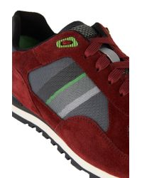 BOSS Green Red 'runcool Ii' | Leather Mesh Sneakers for men