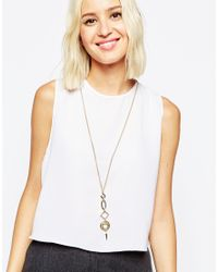 ASOS | Metallic Connecting Open Shapes Long Pendant Necklace | Lyst