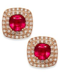 Effy Collection | Red Rosa By Effy Ruby (1-3/4 Ct. T.w.) And Diamond (1/4 Ct. T.w.) Stud Earrings In 14k Rose Gold | Lyst