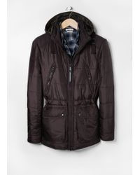 Mango - Brown Detachable Hood Quilted Parka for Men - Lyst